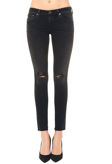 Destroyed Black Ankle Jean