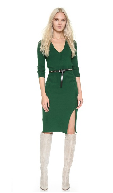 Deep V-neck Knit Dress | LadyLUX - Online Luxury Lifestyle, Technology and Fashion Magazine